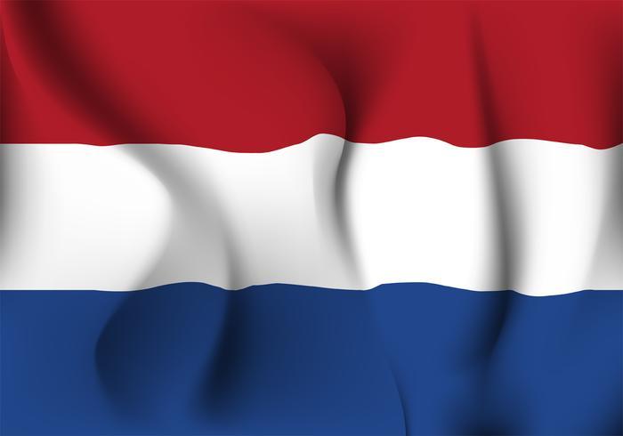 Progettazione realistica di vettore della bandiera di Netherland