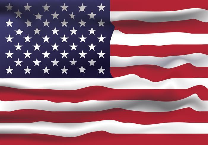 Progettazione realistica di vettore della bandiera degli Stati Uniti d'America