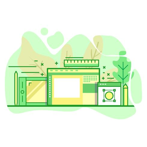 Arte digital moderno plano color verde ilustración vector