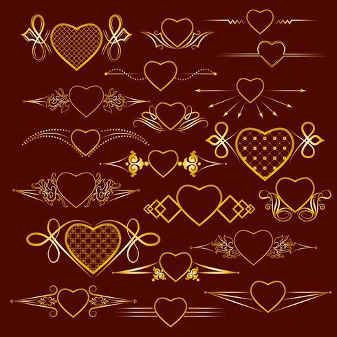 Conjunto de separadores con la imagen del corazón. Vector
