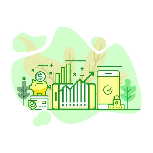 Ilustración de inversión moderna plana color verde vector