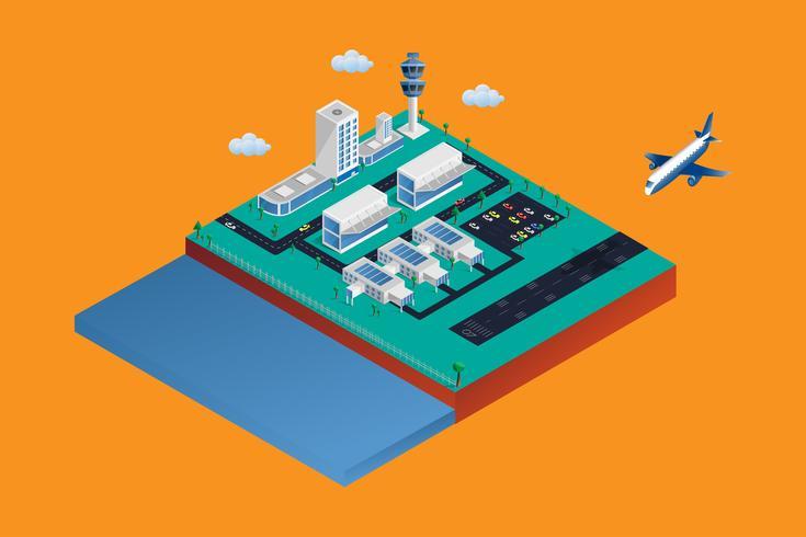 Terminale di aeroporto isometrico 3d. L'aeroplano sta atterrando alla pista con costruzione isolata su fondo. Affari e tempo di viaggio vacanza o concetto di trasporto. Illustrazione vettoriale.