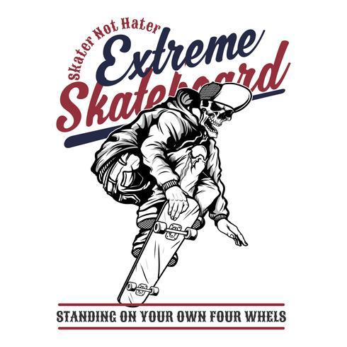 skate extremo do crânio, desenho da mão do vetor, projetos da camisa, motociclista, disco-jóquei, cavalheiro, barbeiro e muitos outro. isolados e fáceis editar. Ilustração vetorial - vetor