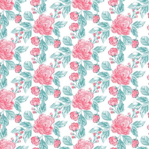 Acuarela patrón floral sin fisuras vector