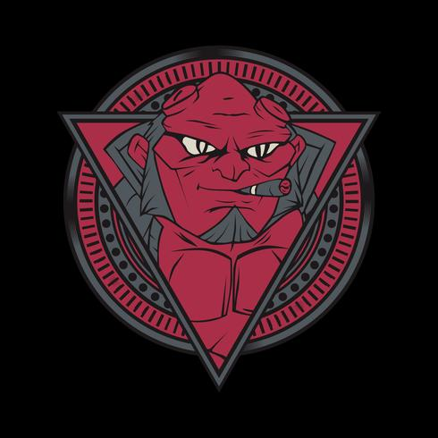 the red devils smoking .vector hand drawing,Shirt designs, biker, disk jockey, gentleman, barber and many others.isolated and easy to edit. Vector Illustration - Vector