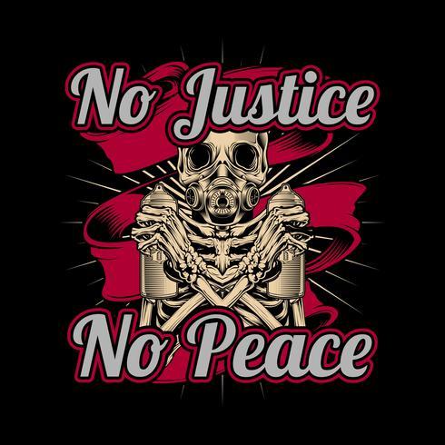 Schädel, der Sprühfarbe Graffiti keine Gerechtigkeit kein Frieden hält. Vektorhandzeichnung, Hemddesigne, Radfahrer, Diskjockey, Herr, Friseur und viele andere. Lokalisiert und einfach zu redigieren. Vektorabbildung - Vektor