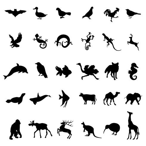 Vetor de silhuetas de animais selvagens