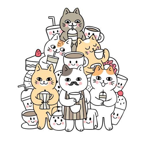 Doodle lindo de la historieta gatos y vector de la bebida.