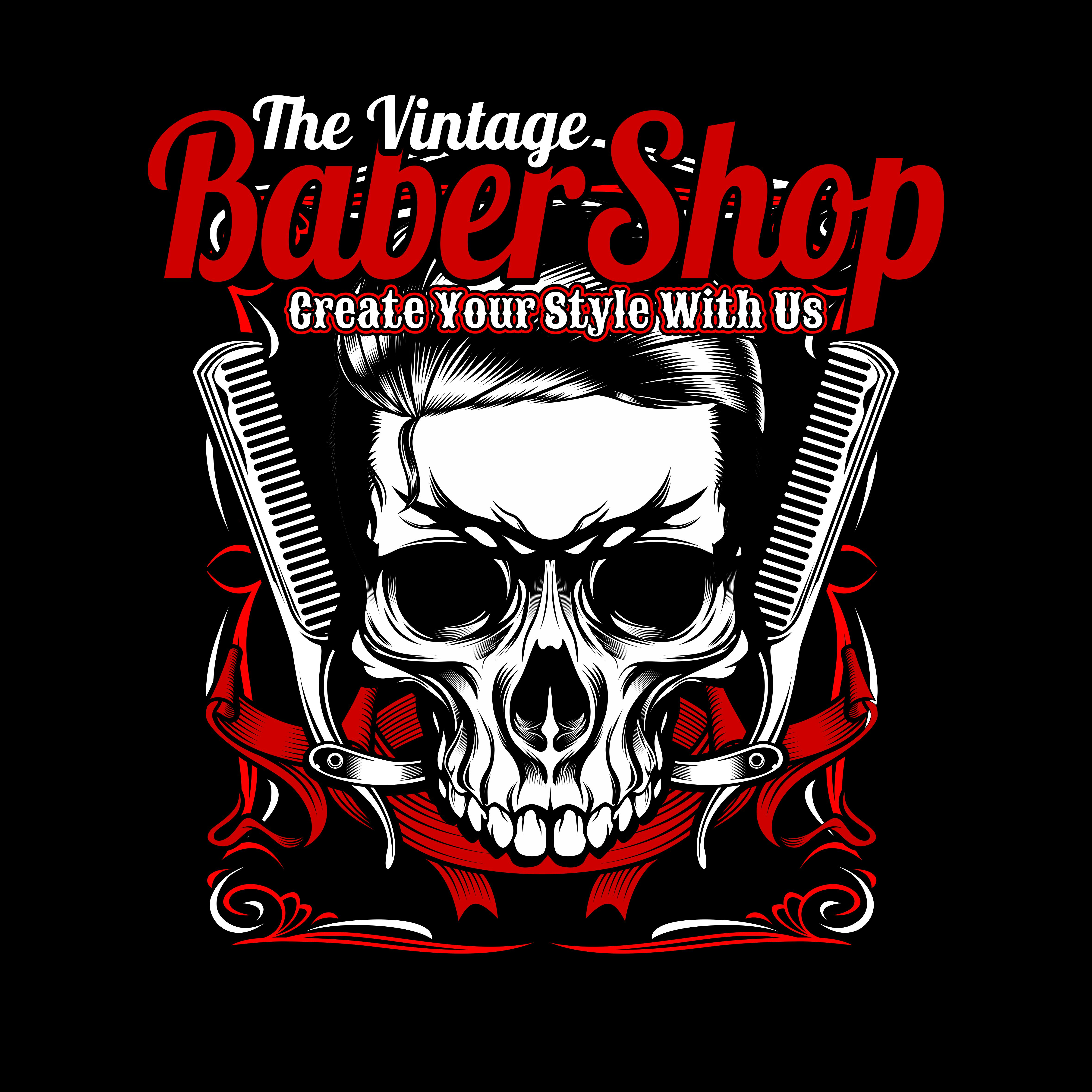 The Vintage Barber Shop ,skull And Comb.vector Hand Drawing