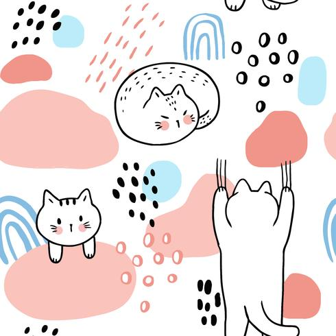 Tecknad söta söta kattar sömlös mönster vektor.