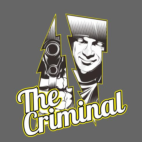 the criminal.man holding gun.vector hand drawing,Shirt designs, biker, disk jockey, gentleman, barber and many others.isolated and easy to edit. Vector Illustration - Vector