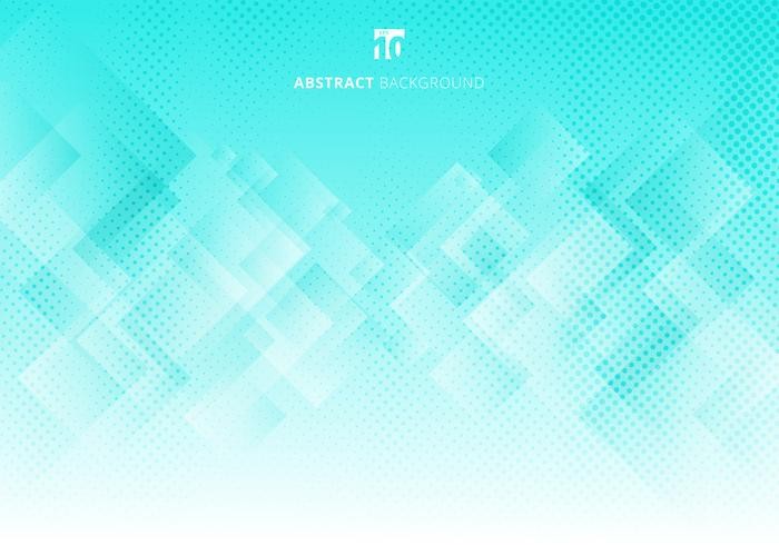 Abstract elegant squares shapes pattern overlay layer geometric white and green gradient color background with halftone texture.