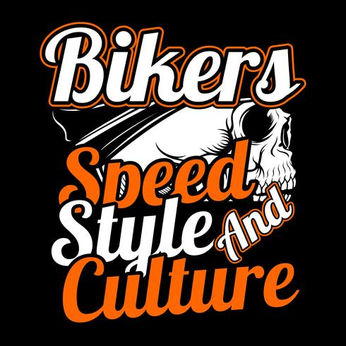 skull bikers.speed, style and culture.vector Handzeichnung, Shirt Designs, Biker, Disk Jockey, Gentleman, Barber und viele andere. Isoliert und einfach zu bearbeiten. Vektorabbildung - Vektor