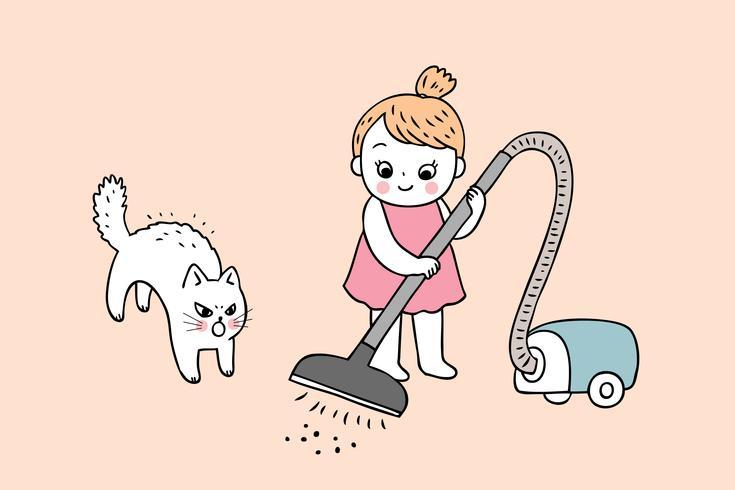 Vector lindo de la limpieza de la muchacha y del gato de la historieta.