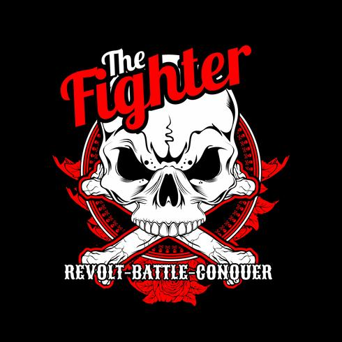 the fighter skull cross bone.vector hand drawing,Shirt designs, biker, disk jockey, gentleman, barber and many others.isolated and easy to edit. Vector Illustration - Vector