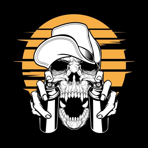 skull in cap holding a spray paint, .vector hand drawing,Shirt designs, biker, disk jockey, gentleman, barber and many others.isolated and easy to edit. Vector Illustration - Vector