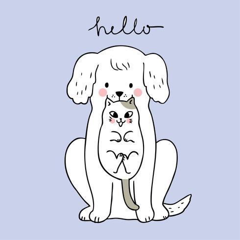 Tecknad söt hund och katt vektor.