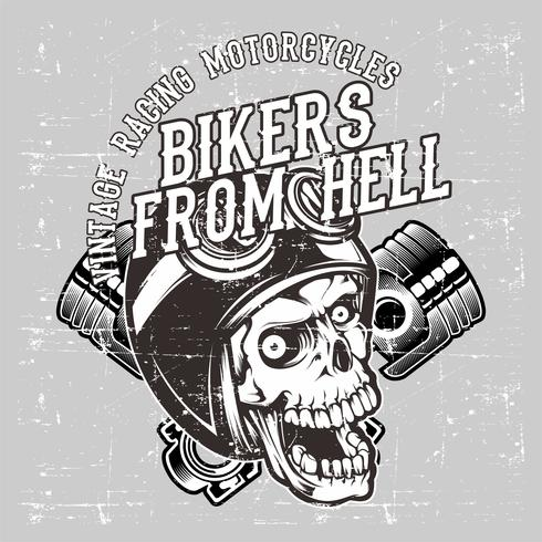 grunge style skull wearing helmet retro and piston hand drawing vector