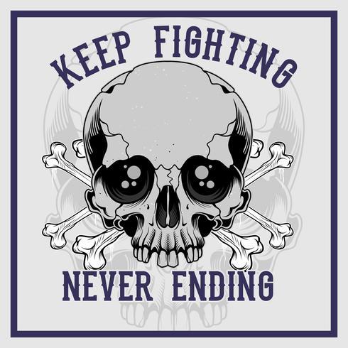 Skull Cross Bone Keep Fighting Never Ending Hand Drawing Vector Download Free Vectors Clipart Graphics Vector Art