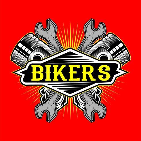 Grunge stijl fietsers logo zuiger en moersleutel hand tekening vector