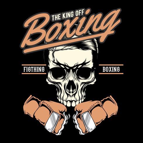 Gym badge av boxning skull.hand ritning vektor handritning, skjortedesigner, biker, diskjockey, gentleman, frisör och många andra. isolerad och enkel att redigera. Vektor illustration - vektor