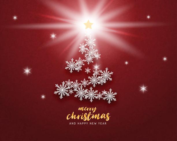 La tarjeta de felicitación de la Feliz Navidad y de la Feliz Año Nuevo en papel cortó el fondo del estilo. Vector los copos de nieve de la celebración de la Navidad del ejemplo en el fondo rojo para la bandera, aviador, cartel, papel pintado, plantilla.