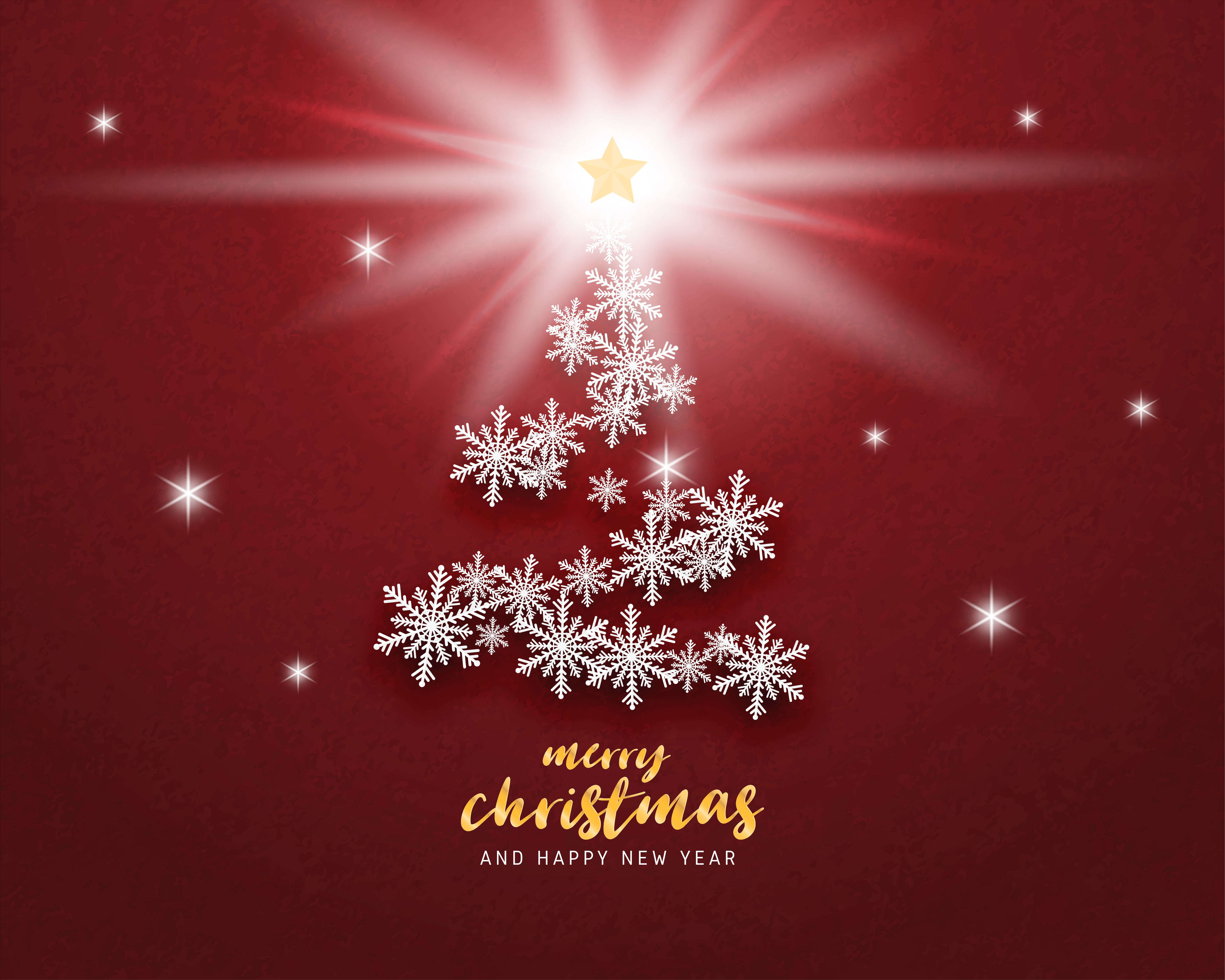 merry christmas and happy new year greeting card in paper