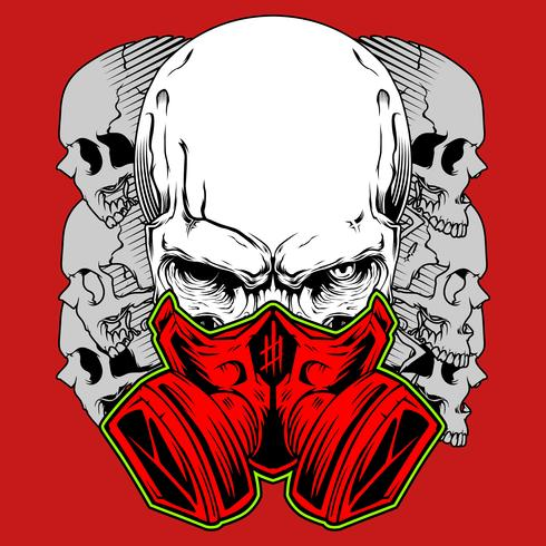 Human skull in gas mask. Hand drawn Toxicity emblem. hand drawing,Shirt designs, biker, disk jockey, gentleman, barber and many others. isolated and easy to edit. Vector Illustration - Vector