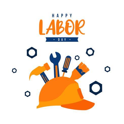 Illustration av arbetsdagen med en gul hjälm och byggverktyg vektor