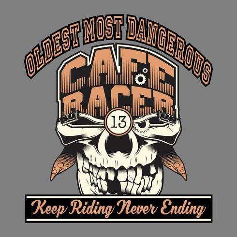 skull cafe racer hand drawing,Shirt designs, biker, disk jockey, gentleman, barber and many others. isolated and easy to edit. Vector Illustration - Vector