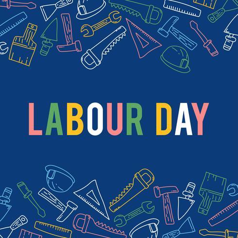 Illustration av Labor Day med flera byggverktyg vektor