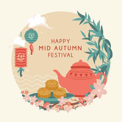 Mid Autumn Festival with Cute Teapot, Moon Cake, Lantern, Rabbit, Bamboo, Cherry Bloom, Chuseok / Hangawi Festival. Thanksgiving Day,  Vector - Illustration