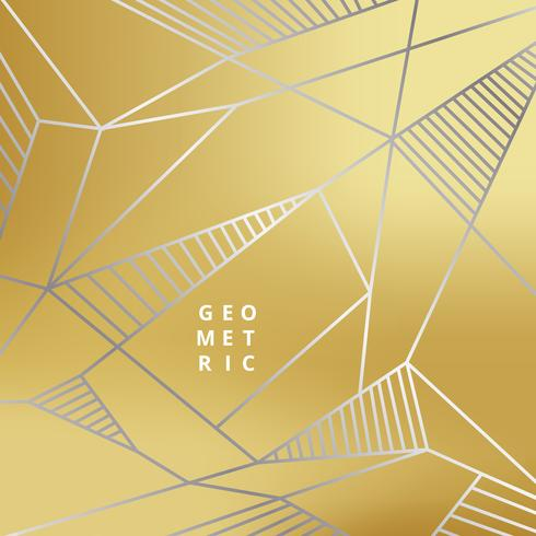 Abstract silver line geometric on gold background luxury style.