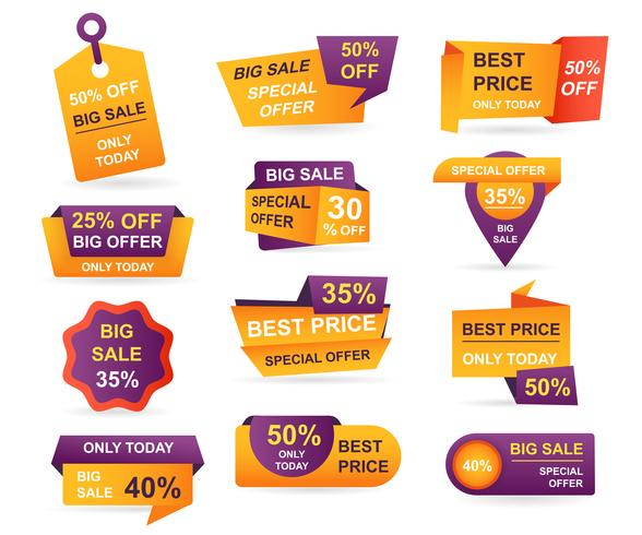 Set of retail sale tags. Stickers best offer price and big sale pricing tag badge design. Limited sales offer label or store discount banner card isolated. Shopping coupon. Vector illustration.