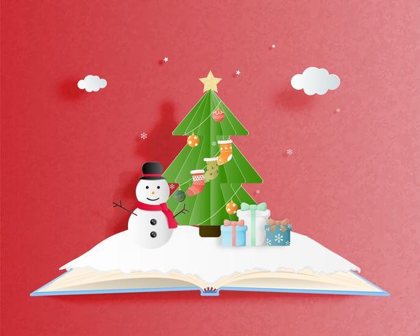 Feliz Natal e feliz ano novo cartão em papel cortado estilo. Ilustração vetorial Fundo de celebração de Natal. Banner, panfleto, cartaz, papel de parede, modelo.