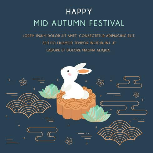 Mid autumn festival with Rabbit and Abstract Elements. Chuseok / Hangawi Festival. Thanksgiving Day, Chinese Cloud, Lotus, Cherry Bloom, Moon Cakes Vector - Illustration