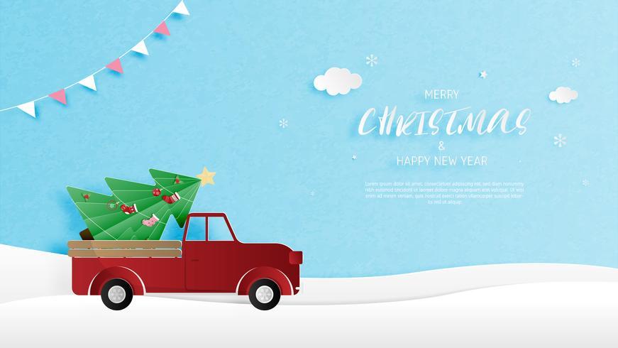 Tarjeta de felicitación feliz Navidad y feliz año nuevo en el estilo de corte de papel. Fondo de la celebración de la Navidad de la ilustración del vector. Banner, flyer, cartel, fondo de pantalla, plantilla. vector