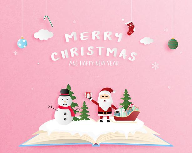 Merry Christmas and Happy new year greeting card in paper cut style. Vector illustration Christmas celebration background with snowman and Santa Claus. Banner, flyer, poster, wallpaper, template.