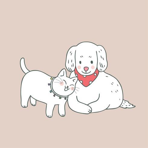 Cartoon cute sweet cat and dog vector.