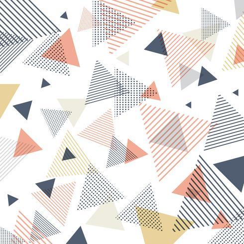 Modello astratto moderno blu, arancione, giallo triangoli con linee in diagonale su sfondo bianco.