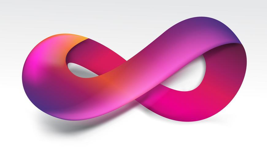 Gradiente púrpura símbolo de infinito vector