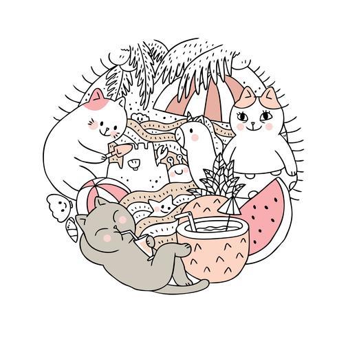 Vector lindo del verano y del gato de la historieta. Doodle marco del círculo.