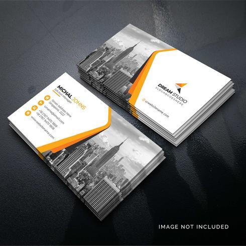 Orange shape visit card Free Vector