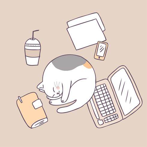 Vector lindo el dormir del gato de la historieta.