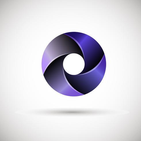 Logo circular con gradientes.