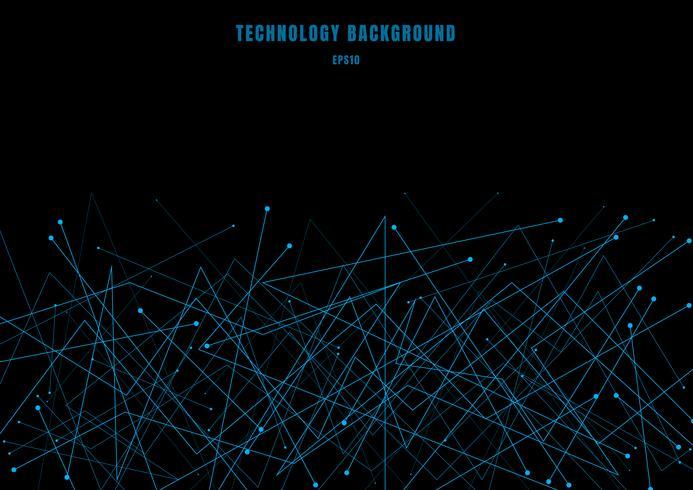 Línea de estructura futurista abstracta de la molécula partículas cibernéticas del color azul en fondo negro. Conexión de puntos y líneas de estilo tecnológico. vector