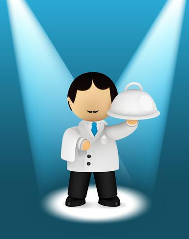 Waiter character in the spotlights