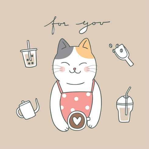 Cartoon cute cat and coffee vector.