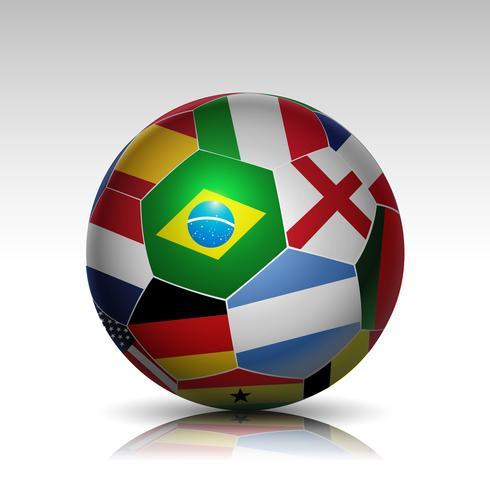 ballon de foot drapeaux du monde vecteur