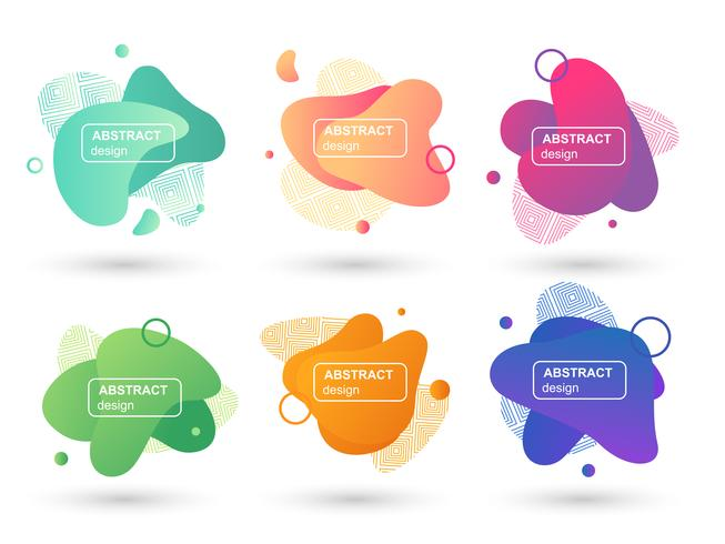 Set of abstract liquid shapes modern graphic elements. Fluid design forms and line. Gradient abstract banners. Template for the design of a logo, flyer or presentation. Vector illustration.